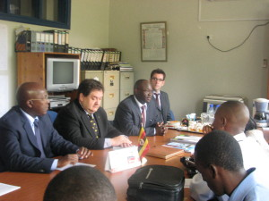 Mr Shire, H.E. Dejak and Mr Sewanyana briefing the press